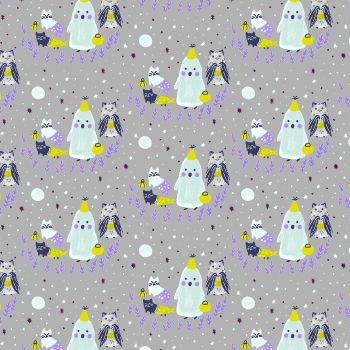 Bring Your Own Boos Ghoul's Night Black Magic White Pigment Cats Halloween Spooky Cotton Fabric