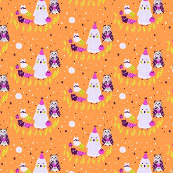 Bring Your Own Boos Ghoul's Night J-E-L-L-GLow White Pigment Cats Halloween Spooky Cotton Fabric