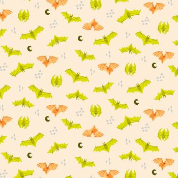 Bring Your Own Boos Bat Attack Trick or Treat Metallic Bats Halloween Spooky Cotton Fabric