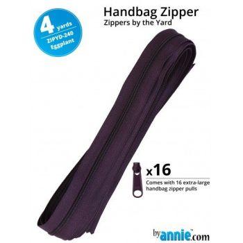 By Annie Zippers By The Yard 4 Yard Pack - Eggplant plus 16 Matching Pulls Handbag Zipper Zip