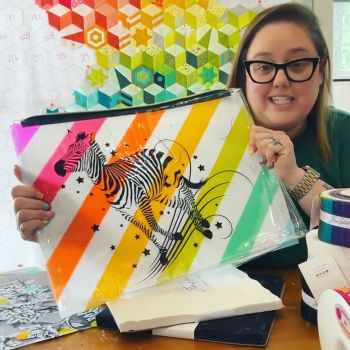 PRE-ORDER Tula Pink Read Between The Lines Zebra Rainbow Large Pouch Project Bag with Gusset