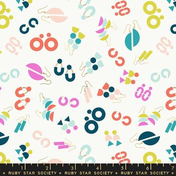 Adorn Ornaments Earrings Jewelry Cream Soda Ruby Star Society Rashida Coleman-Hale Cotton Fabric RS1019 11