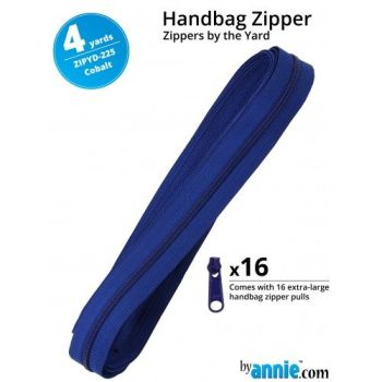 By Annie Zippers By The Yard 4 Yard Pack - Cobalt plus 16 Matching Pulls Handbag Zipper Zip