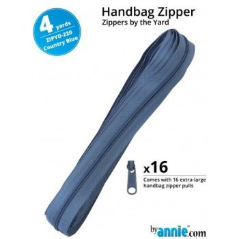 By Annie Zippers By The Yard 4 Yard Pack - Country Blue plus 16 Matching Pulls Handbag Zipper Zip