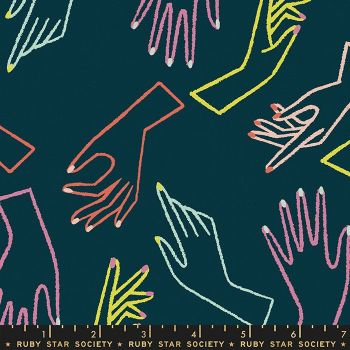 Adorn In Good Hands Peacock Ruby Star Society Rashida Coleman-Hale Cotton Linen Canvas Fabric RS1025 15L