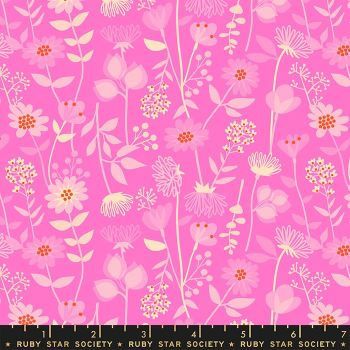 Stay Gold Meadow Lipstick Floral Daisy Flower Ruby Star Society Melody Miller Cotton Fabric RS0021 13