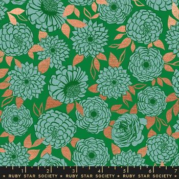 Stay Gold Sparkle Evergreen Metallic Copper Floral Flower Ruby Star Society Melody Miller Cotton Fabric RS0022 17M