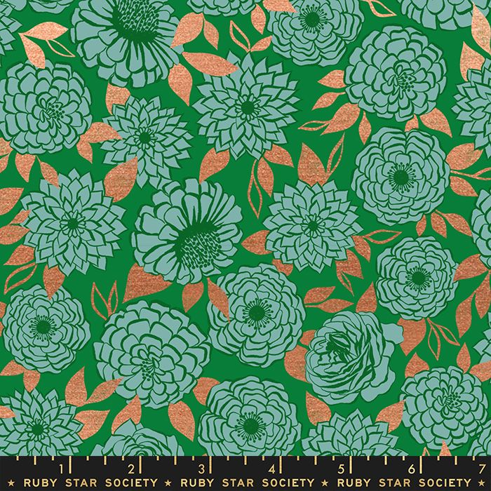 Stay Gold Sparkle Evergreen Metallic Copper Floral Flower Ruby Star Society