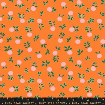 Stay Gold Blossom Orange Metallic Copper Flower Botanical Ruby Star Society Melody Miller Cotton Fabric RS0024 13M