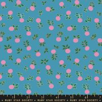 Stay Gold Blossom Vintage Blue Metallic Copper Flower Botanical Ruby Star Society Melody Miller Cotton Fabric RS0024 17M