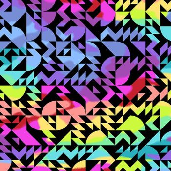 Beguiled Come on Over Black Libs Elliott Geometric Rainbow Ombre Cotton Fabric 9751 K