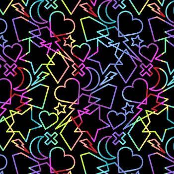 Beguiled Charms Black Libs Elliott Hearts Stars Lighting Rainbow Ombre Cotton Fabric 9752 K