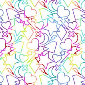 Beguiled Charms White Libs Elliott Hearts Stars Lighting Rainbow Ombre Cotton Fabric 9752 L