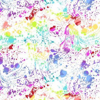 Beguiled Venom White Libs Elliott Paint Splatter Rainbow Ombre Cotton Fabric 9753 L