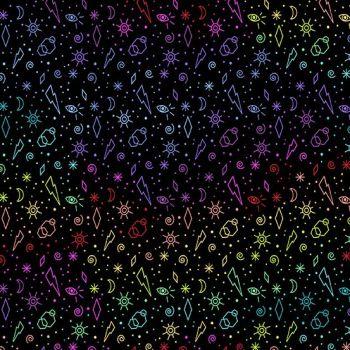 Beguiled Zoltar Black Libs Elliott Suns Moons Eyes Lightning Rainbow Ombre Cotton Fabric 9755 K