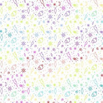 Beguiled Zoltar White Libs Elliott Suns Moons Eyes Lightning Rainbow Ombre Cotton Fabric 9755 L