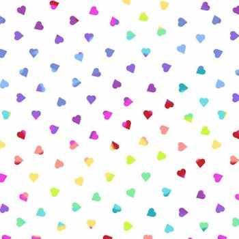 Beguiled Heart of Glass White Libs Elliott Hearts Rainbow Ombre Cotton Fabric 9756 L