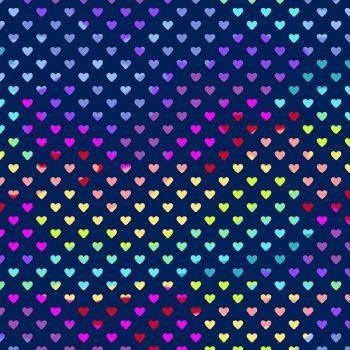Rainbow Hearts Dusk Geometric Rainbow Ombre Cotton Fabric 9793 B