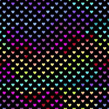 Rainbow Hearts Midnight Geometric Rainbow Ombre Cotton Fabric 9793 K