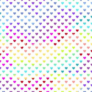 Rainbow Hearts Daylight Geometric Rainbow Ombre Cotton Fabric 9793 L