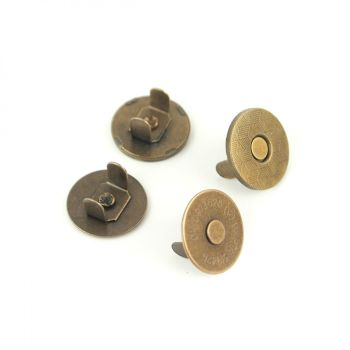 """Sallie Tomato 3/4"""" Magnetic Snaps Hardware Antique Brass for Bag and Purse Making - Set of 2"""