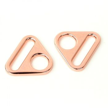 """Sallie Tomato 1"""" Triangle Rings Hardware Rose Gold for Bag and Purse Making - Set of 2"""