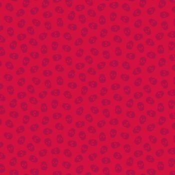 The Watcher Tainted Love Raspberry Libs Elliott Skulls Cotton Fabric 9837 R