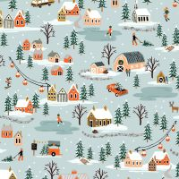 Rifle Paper Co. Holiday Classics Holiday Village Mint Cotton Fabric