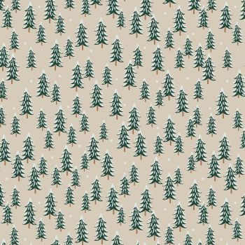 Rifle Paper Co. Holiday Classics Fir Trees Linen Snow Covered Trees Cotton Fabric