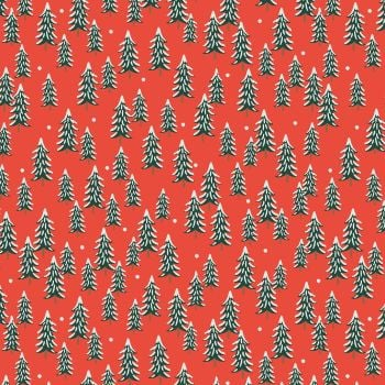 Rifle Paper Co. Holiday Classics Fir Trees Red Snow Covered Trees Cotton Fabric