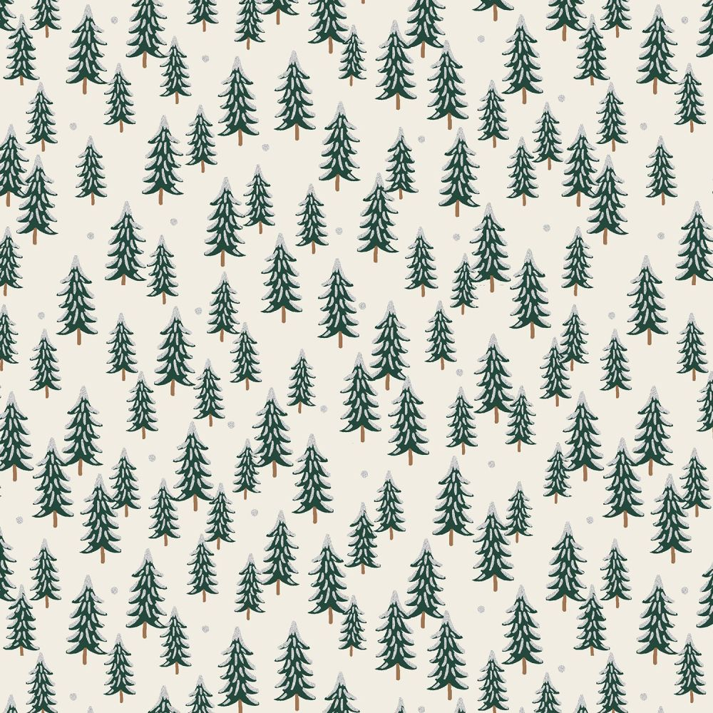 Rifle Paper Co. Holiday Classics Fir Trees Silver Metallic Snow Covered Tre