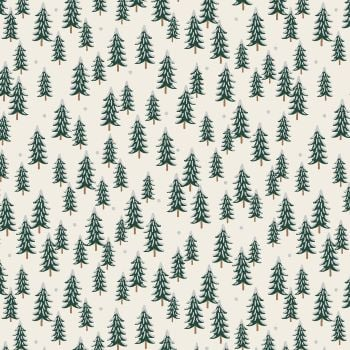 Rifle Paper Co. Holiday Classics Fir Trees Silver Metallic Snow Covered Trees Cotton Fabric