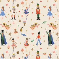 Rifle Paper Co. Holiday Classics Land of Sweets Cream Metallic Gold Nutcracker Candy Cakes Cotton Fabric