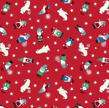 Hygge Glow Tomten on Red GID Glow in the Dark Scandinavian Gnome Elf Elves Lewis & Irene Cotton Fabric C73.2