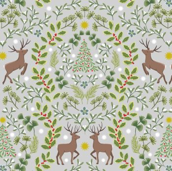 Noel on Lightest Grey with Gold Metallic Mistletoe Holly Berry Stag Lewis & Irene Cotton Fabric C64.1
