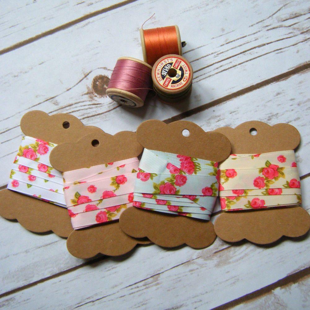 Bertie's Bows Rose Print Grosgrain Ribbon 16mm 4 Colour Options Per Metre o