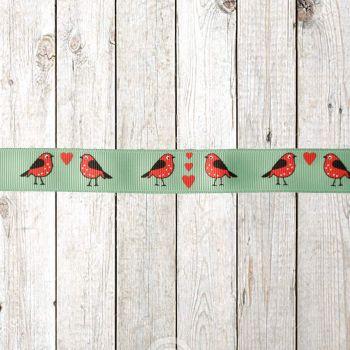 Reel Chic Festive Robin Print Grosgrain Ribbon 19mm Per Metre or Per Pack