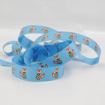 Reel Chic Festive Christmas Fox Print Grosgrain Ribbon 19mm Per Metre or Per Pack