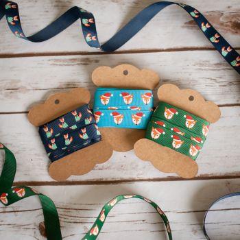 Reel Chic Festive Christmas Fox Print Grosgrain Ribbon 19mm 3 Colour Options Per Metre or Per Pack
