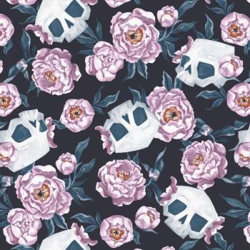 Toil and Trouble Skull Floral Halloween Rae Ritchie Dear Stella Cotton Fabric