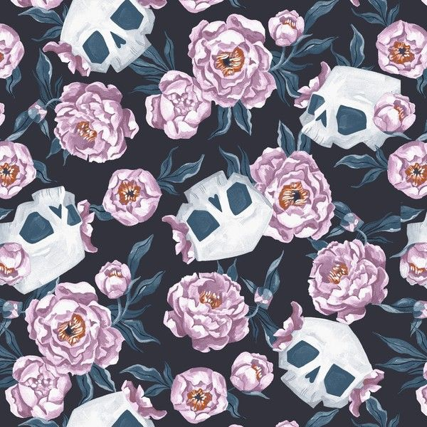 Toil and Trouble Skull Floral Halloween Rae Ritchie Dear Stella Cotton Fabr