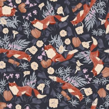 Toil and Trouble Foxy in Graphite Halloween Woodland Foxes Rae Ritchie Dear Stella Cotton Fabric