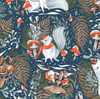 Frosty Forage in Quartz Woodland Christmas Festive Squirrel Rae Ritchie Dear Stella Cotton Fabric