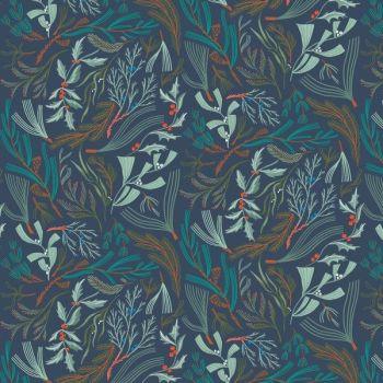 Frosty Forage Foliage in Quartz Woodland Holly Festive Rae Ritchie Dear Stella Cotton Fabric