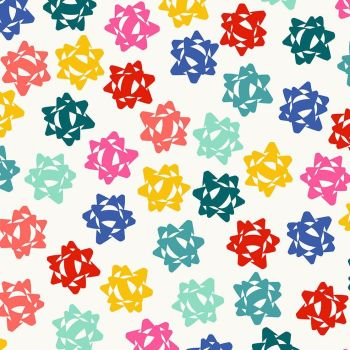 Figo Peppermint Ribbon Gift Bows on White Festive Christmas Wrapping Cotton Fabric 90374-10