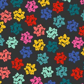 Figo Peppermint Ribbon Gift Bows on Black Festive Christmas Wrapping Cotton Fabric 90374-99