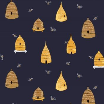 Honey Bee Bee Hives in Navy Bumblebees Rae Ritchie Dear Stella Cotton Fabric