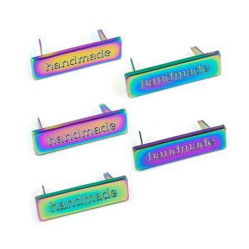 'Handmade' Rectangle Bag Making Label Iridescent Rainbow Emmaline Bags Hardware Purse Supplies