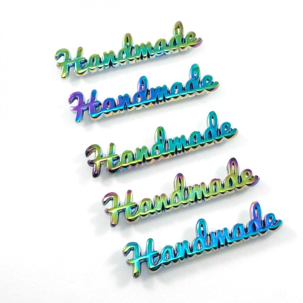 'Handmade' Script Bag Making Label Iridescent Rainbow Emmaline Bags Hardwar