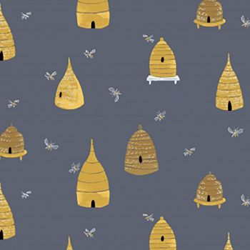 Honey Bee Bee Hives in Sky Bumblebees Rae Ritchie Dear Stella Cotton Fabric